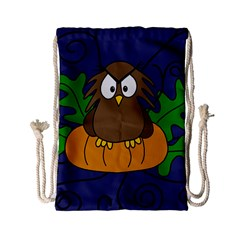 Halloween owl and pumpkin Drawstring Bag (Small)