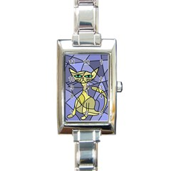 Artistic Cat   Yellow Rectangle Italian Charm Watch