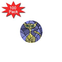 Artistic cat - yellow 1  Mini Buttons (100 pack)