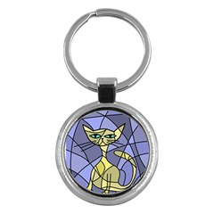 Artistic cat - yellow Key Chains (Round)