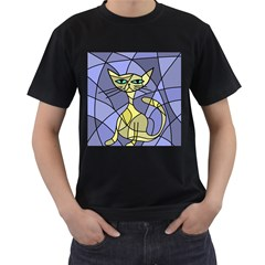 Artistic cat - yellow Men s T-Shirt (Black) (Two Sided)