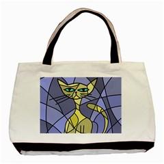 Artistic cat - yellow Basic Tote Bag