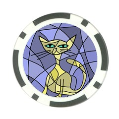 Artistic cat - yellow Poker Chip Card Guards