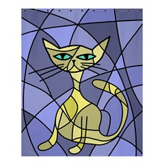 Artistic cat - yellow Shower Curtain 60  x 72  (Medium)