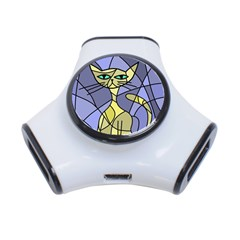 Artistic cat - yellow 3-Port USB Hub