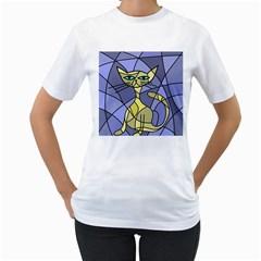 Artistic cat - yellow Women s T-Shirt (White)