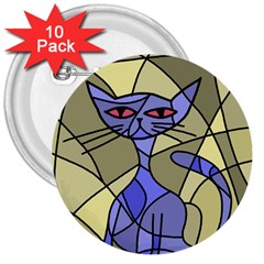 Artistic cat - blue 3  Buttons (10 pack)
