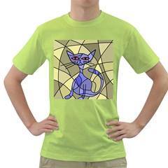 Artistic cat - blue Green T-Shirt