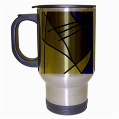 Artistic cat - blue Travel Mug (Silver Gray)