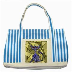 Artistic cat - blue Striped Blue Tote Bag