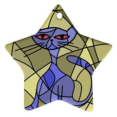 Artistic cat - blue Star Ornament (Two Sides)