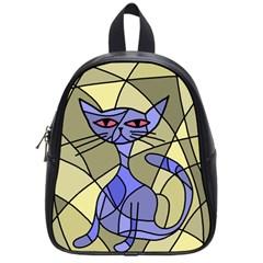 Artistic cat - blue School Bags (Small)