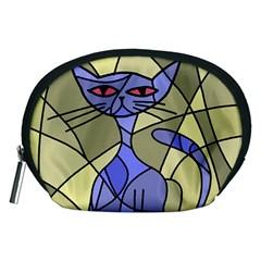 Artistic cat - blue Accessory Pouches (Medium)