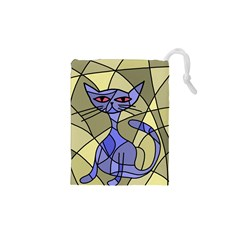 Artistic cat - blue Drawstring Pouches (XS)