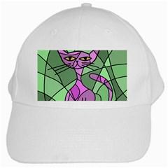 Artistic cat - purple White Cap
