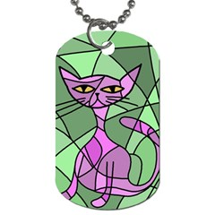 Artistic cat - purple Dog Tag (One Side)