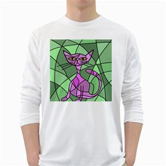 Artistic cat - purple White Long Sleeve T-Shirts