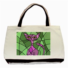Artistic cat - purple Basic Tote Bag