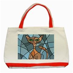Artistic  cat - orange Classic Tote Bag (Red)