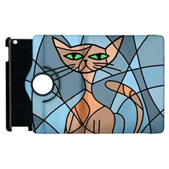 Artistic  cat - orange Apple iPad 2 Flip 360 Case
