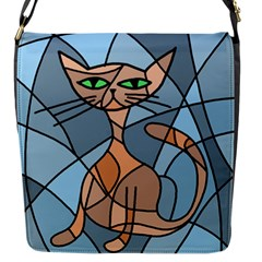 Artistic  cat - orange Flap Messenger Bag (S)