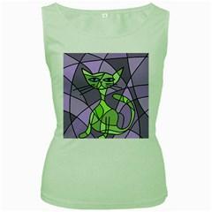 Artistic cat - green Women s Green Tank Top