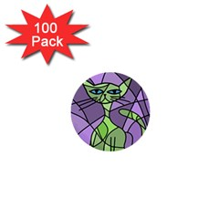 Artistic cat - green 1  Mini Buttons (100 pack)