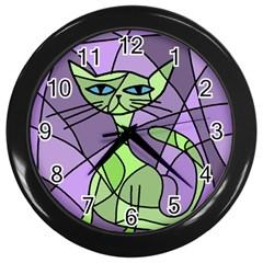 Artistic cat - green Wall Clocks (Black)