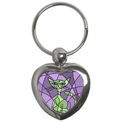 Artistic cat - green Key Chains (Heart)