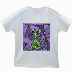 Artistic cat - green Kids White T-Shirts