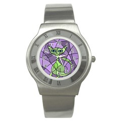 Artistic cat - green Stainless Steel Watch