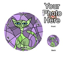 Artistic cat - green Playing Cards 54 (Round)