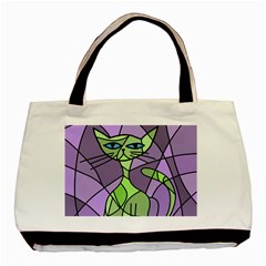 Artistic cat - green Basic Tote Bag (Two Sides)