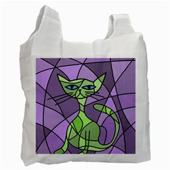 Artistic cat - green Recycle Bag (Two Side)