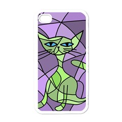 Artistic cat - green Apple iPhone 4 Case (White)