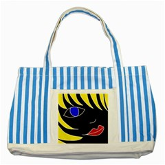 Blond girl Striped Blue Tote Bag