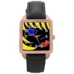 Blond girl Rose Gold Leather Watch