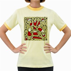 Playful abstraction Women s Fitted Ringer T-Shirts