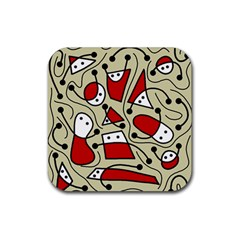 Playful abstraction Rubber Coaster (Square)