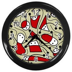 Playful abstraction Wall Clocks (Black)