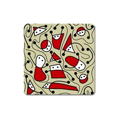 Playful abstraction Square Magnet