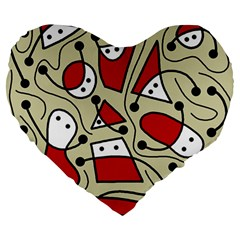 Playful abstraction Large 19  Premium Flano Heart Shape Cushions