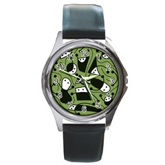 Playful abstract art - green Round Metal Watch