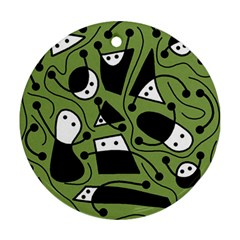 Playful abstract art - green Ornament (Round)