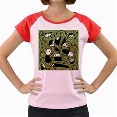 Playful abstract art - green Women s Cap Sleeve T-Shirt