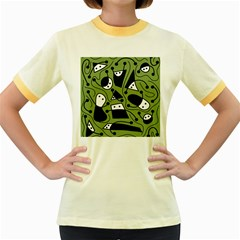 Playful abstract art - green Women s Fitted Ringer T-Shirts