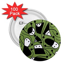 Playful abstract art - green 2.25  Buttons (100 pack)