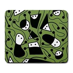Playful abstract art - green Large Mousepads