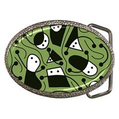 Playful abstract art - green Belt Buckles