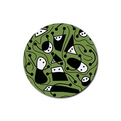Playful abstract art - green Rubber Coaster (Round)